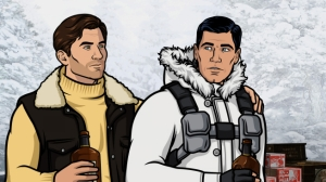 Archer and his former best friend (Timothy Olyphant) are holed up in the Vermont wilderness, fighting hard to come out on top.  L-R: Lucas Troy (voice of Timothy Olyphant) and Sterling Archer (voice of H. Jon Benjamin). FX Network