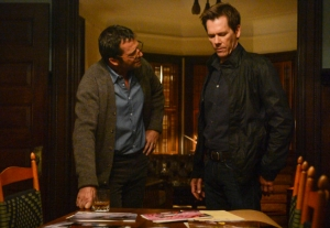 "THE FOLLOWING: In a flashback scene Ryan Hardy (Kevin Bacon, R) seeks advice from Professor Joe Carroll (James Purefoy, L) in the ""The Poet's Fire."" CR: David Giesbrecth/FOX"