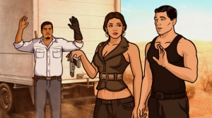 ARCHER: Episode 8, Season 4 Coyote Lovely (airing March 7, 10:00 pm e/p). Archer heads to the Mexican border to capture a notorious coyote, which is Spanish for coyote. Pictured: (L-R) Chuy (voice of Patrick Piper) Mercedes Moreno (voice of Carla Jiminez)