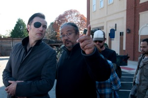 The Governor (David Morrissey) and Director Ernest Dickerson - The Walking Dead - Season 3, Episode 16 - Photo Credit: Gene Page/AMC