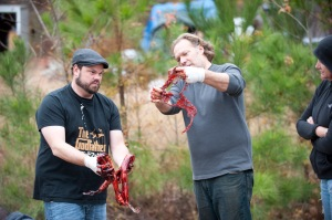 Special Effects Makup Artist Kevin Wasner and Co-Executive Producer/SFX Make-Up Supervisor Greg Nicotero - The Walking Dead - Season 3, Episode 16 - Photo Credit: Gene Page/AMC